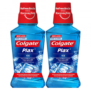 Kit 2x250mL Enxaguante Bucal Antisséptico Colgate Plax Ice