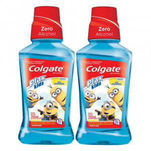 Kit 2x250mL Enxaguante Bucal Colgate Plax Kids Minions