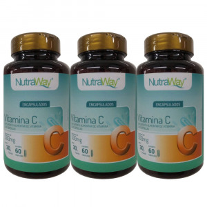 Kit 3x60 Vitamina C NutraWay 500mg (180 Cápsulas)