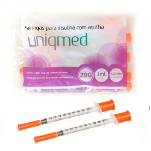 Seringa Uniqmed c/ Agulha 29g 12x0,33mm c/ 10x1mL p/ 100(UI)